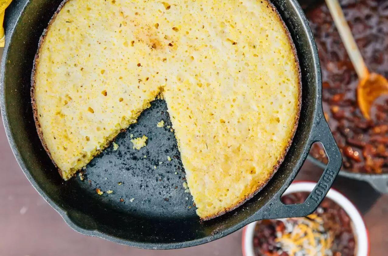Campfire Skillet Cornbread by Fresh of the Grid