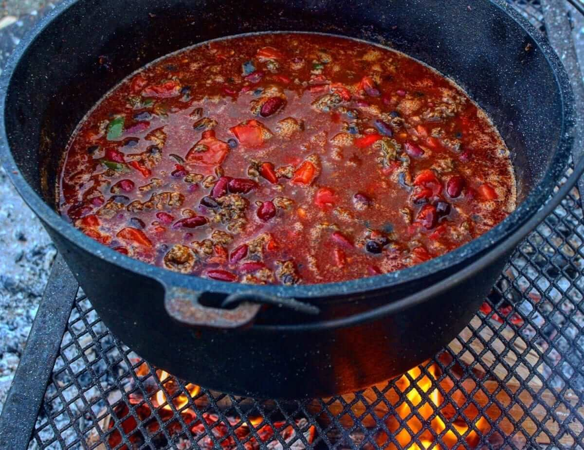 Fall Camping Chili - OVerTheFireCooking